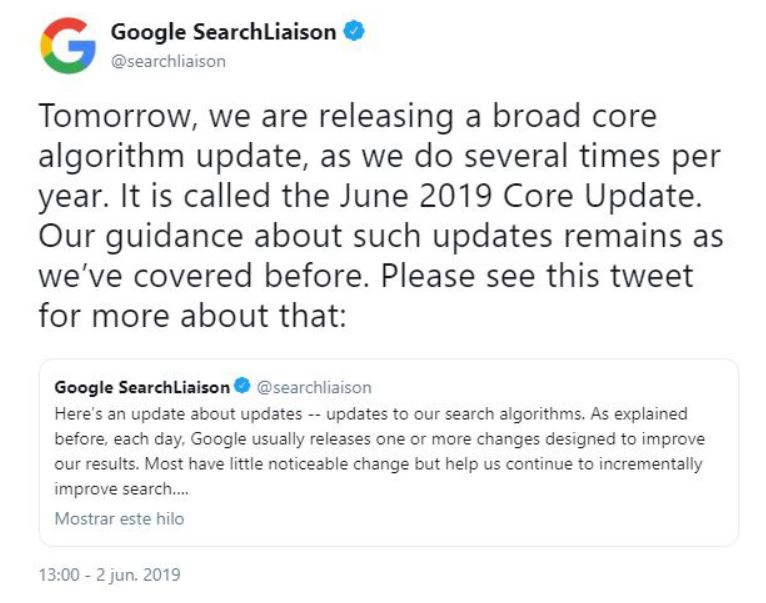 Actualizacion algoritmo google Junio 2019